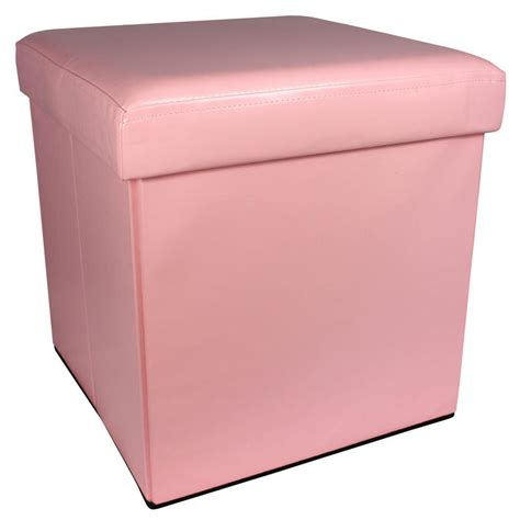pink storage ottoman pink faux leather folding storage pouffe seat ottoman toy