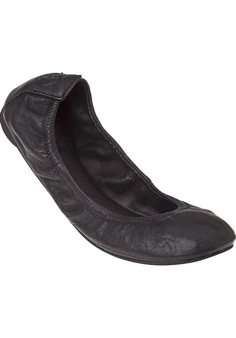black flat ballet shoes lyst burch eddie ballet flat black leather in black