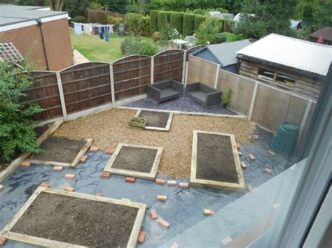 oak railway sleepers raised bed gravel garden