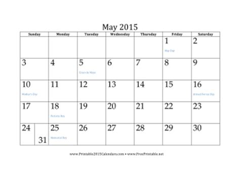 2015 monthly calendar template with holidays printable may 2015 calendar