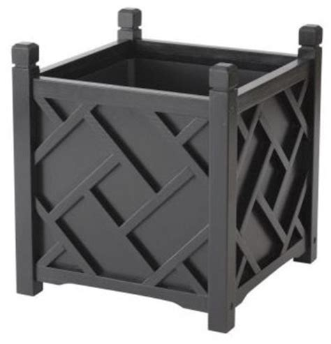Black Square Outdoor Planters by Dmc 14 Inch Square Black Chippendale Planter Traditional