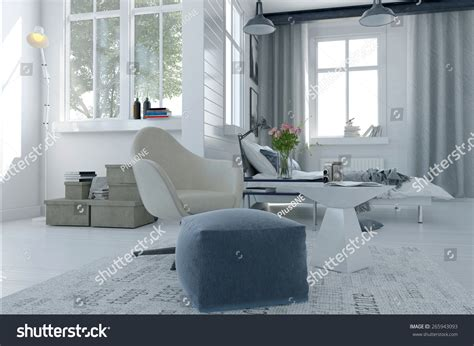 Large Comfortable Modern Sitter Interior With And Seating   large comfortable modern bed sitter interior with a bed