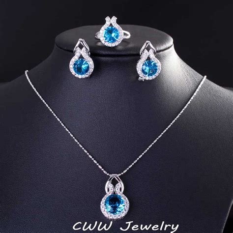 925 sterling silver sapphire jewelry fashion light blue