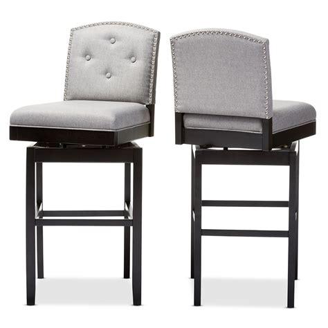 tufted swivel bar stools baxton studio ginaro modern and contemporary grey fabric