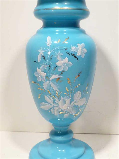 Antique Bristol Blue Glass Vase by Large Antique Decorated Blue Bristol Glass Vase From