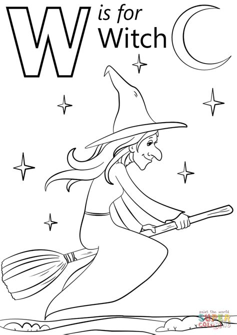 witch coloring pages preschool w is for witch coloring page free printable coloring pages