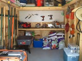 a storage shed that is tidy and organized things