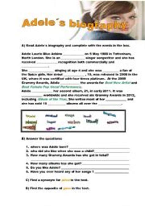biography esl lesson plan english teaching worksheets adele