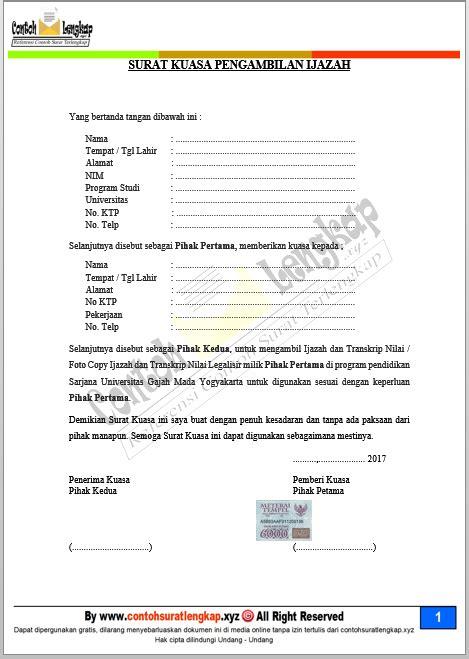 Contoh Surat Resmi Pengambilan Ijazah by 3 Contoh Surat Kuasa Pengambilan Ijazah Sma Di Tempat Kerja