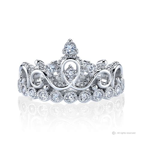 Crown Sterling Silver Ring rhodium plated 925 sterling silver princess crown ring