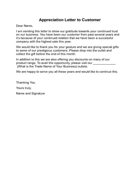appreciation letter to a customer 2018 acceptance letter templates fillable printable pdf
