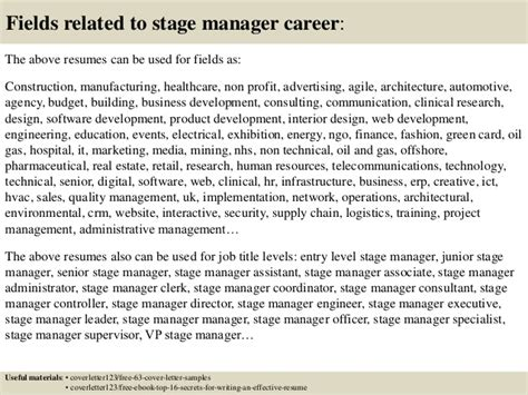top 5 stage manager cover letter sles