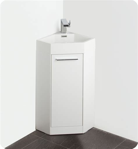 Corner Bathroom Vanity Cabinets Fresca Coda 14 Quot White Modern Corner Bathroom Vanity W Optional Medicine Cabinet Direct To You