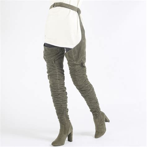 jeffrey cbell thigh high boots dolly belted the knee boots in khaki faux suede
