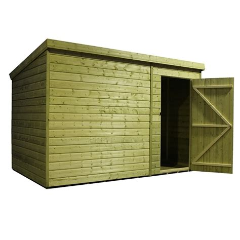 Shed 10 X 5 by 10 X 5 Windowless Pressure Treated Tongue And Groove Pent