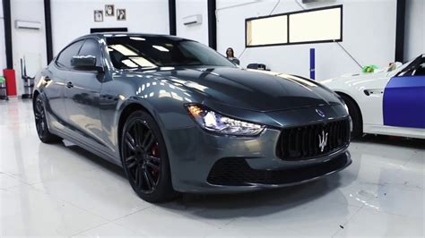 maserati ghibli grey maserati ghibli 2016 full body wrapped in dark grey by