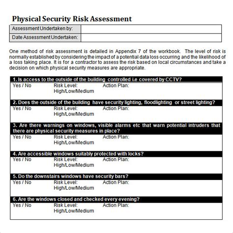 risk analysis format security risk assessment template
