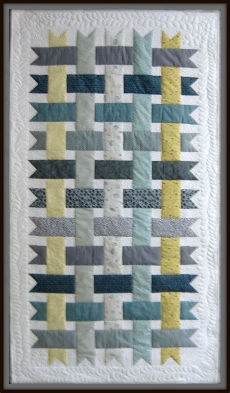grey pattern quilt woven ribbons bed throw lap quilt or wall hanging sized