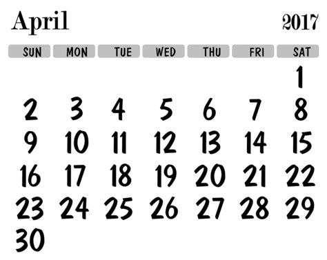 April 2017 Calendar Challenge Transparent Calendar Template