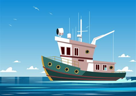 fishing boat vector trawler power boat vector download free vector art