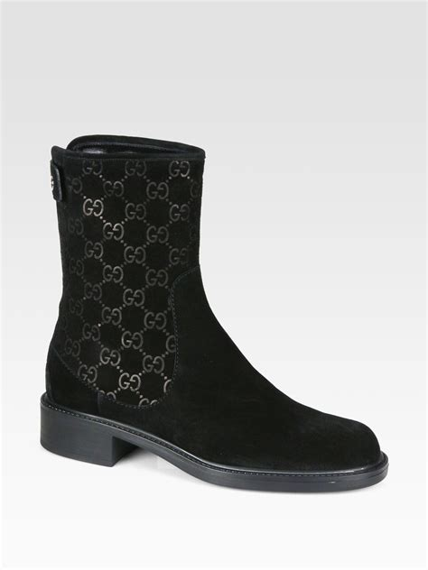gucci gg suede ankle boots in black lyst