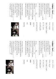 coldplay don t panic mp3 english worksheets coldplay don 180 t panic
