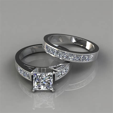 Wedding Set Band by Princess Cut Engagement Ring And Wedding Band Bridal Set