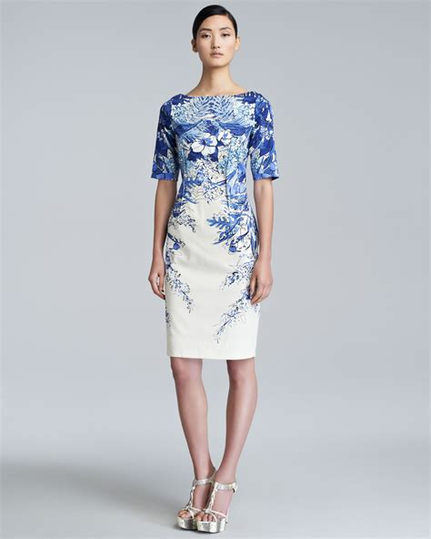 blue pattern lace dress lyst lela rose pintucked floral print dress in white