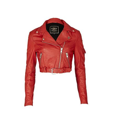 River Island Leather Cropped Jacket leather cropped 80s biker jacket leather non