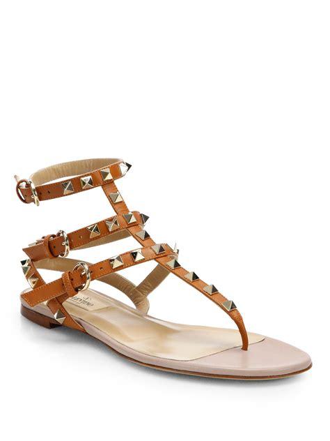 valentino gladiator sandals valentino rockstud leather gladiator sandals in brown