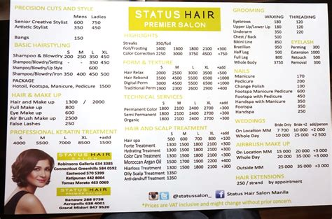 regis hair price list regis hair salon price list supercuts hair style for men