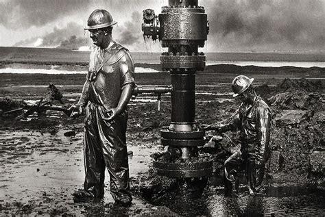 sebastio salgado kuwait a 3836561255 fracking must stop sebasti 227 o salgado s images workers place a new wellhead oil wells