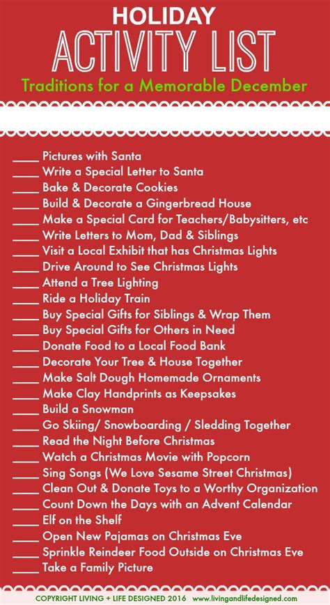 Family Game Room Ideas holiday activities list for the month of december leading