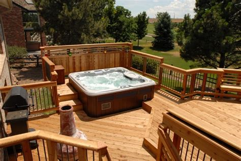 backyard deck designs with hot tub redwood deck with built in seating and hot tub unique