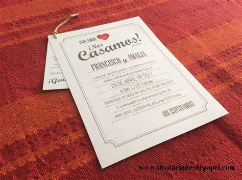 invitaciones boda 20 centimos empapelarte invitacion de boda rustica romanticas y cestres vintage cuore