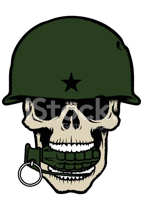 skull with army helmet and a grenade in its stock vector