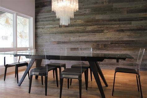 metal accent wall reclaimed wood walls dining room contemporary with