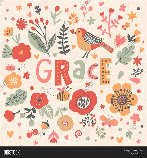 design background names bright card beautiful name grace vector photo bigstock