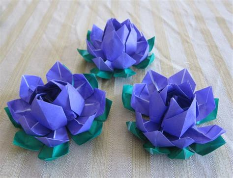 Origami Japanese Flower - purple origami lotus flower