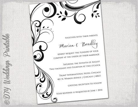 Wedding Invitation Templates Black And White Quot Scroll Quot Invitations You Edit Printable Invite Blank Wedding Invitation Templates For Microsoft Word
