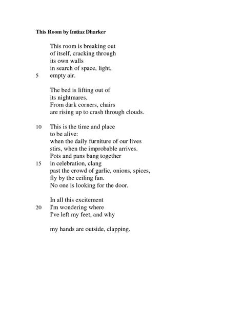this room imtiaz dharker poem 24 best images about poetry on trees derek walcott and and fall