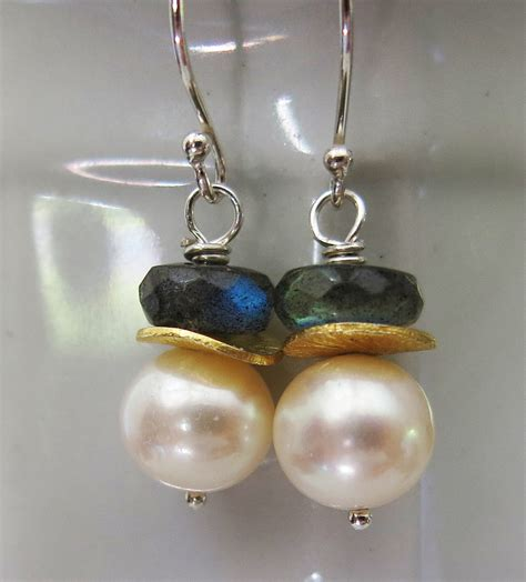 Pearl Handmade Jewelry - handmade pearl and labradorite earrings handmade jewelry