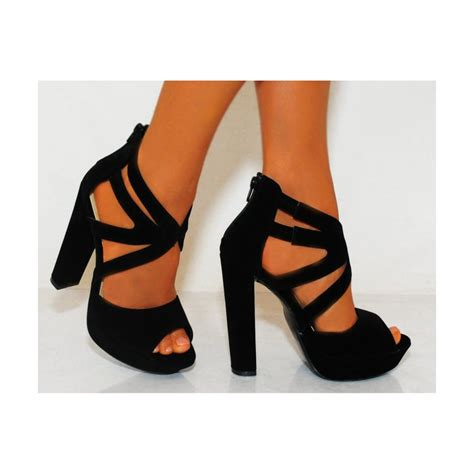 high heel black faux suede high heels with cutouts