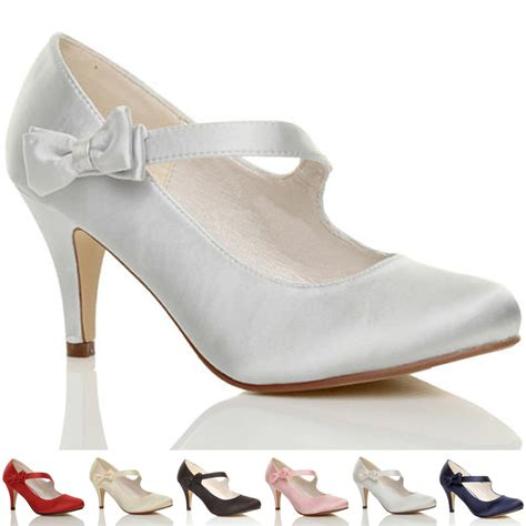 womens wedding heels womens mid high heel bow wedding bridal