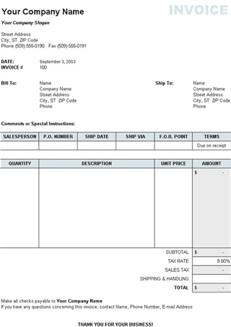 Free Invoice Templates For Excel by Free Excel Invoice Templates