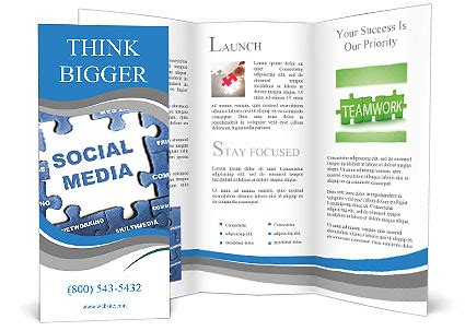 social media brochure template social media blue puzzle brochure template design id