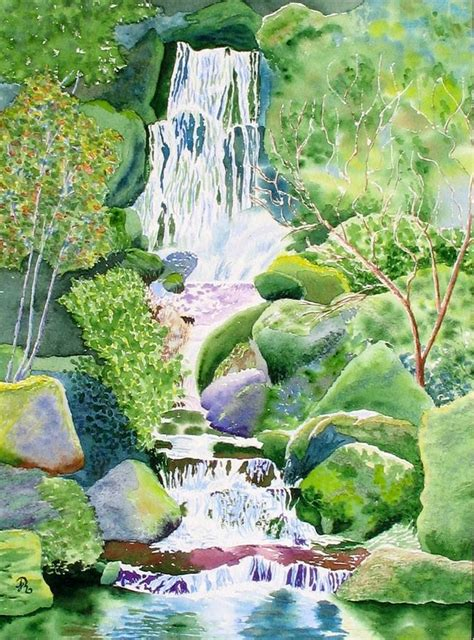 waterfall in japanese garden painting by joanne rauschkolb