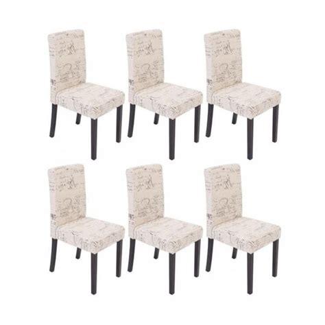 lot 6 chaises pas cher lot de 6 chaises de salle 224 manger en tissu cr 232 me imprim 233