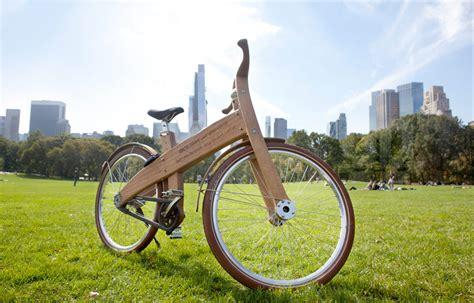 designboom wooden bike jan gunneweg combines nature city with wooden bough bikes