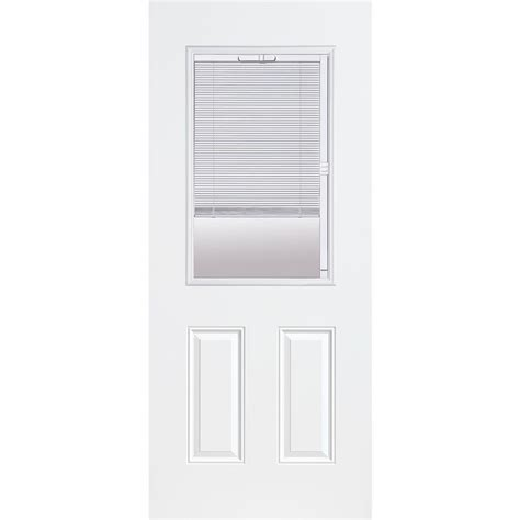 Half Lite Exterior Door Masonite 32 In X 80 In Premium Half Lite Mini Blind Primed Steel Prehung Front Door With No